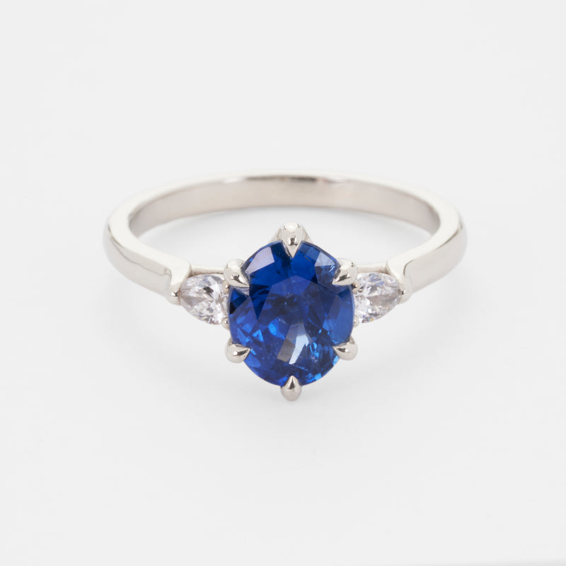 Isela Three-Stone: Royal Blue Sapphire Ring