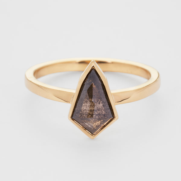 Geometry: Salt and Pepper Diamond Kite Ring