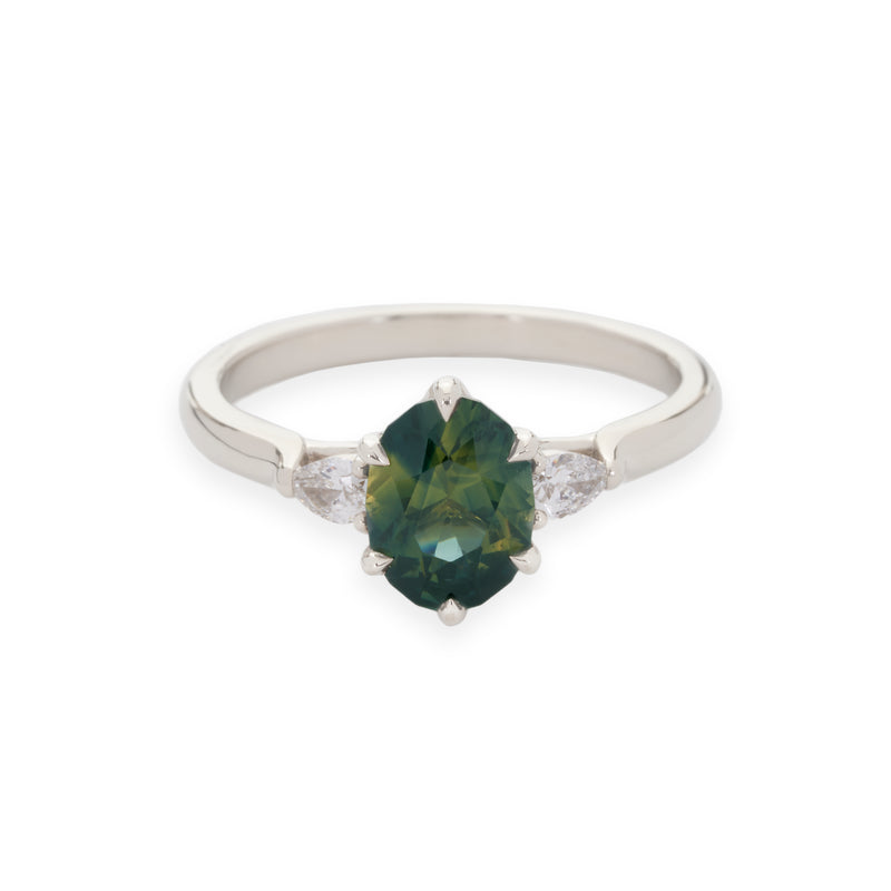 Isela Three-Stone: Green Sapphire & Diamond Ring