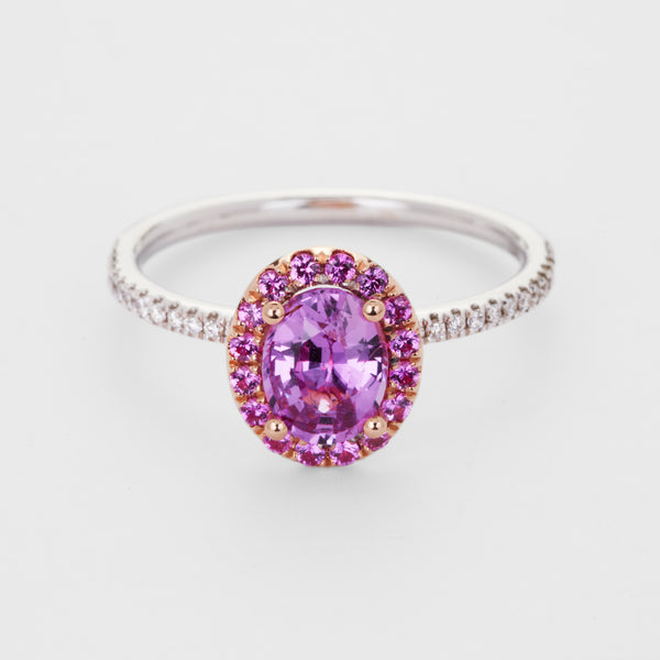 Dolce: Pink Unheated Sapphire Halo Ring