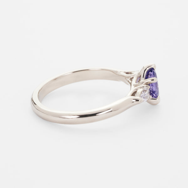 Isela Three-Stone: Unheated Purple Sapphire Ring