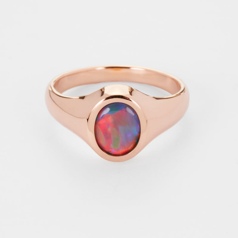 Leo: Australian Lightning Ridge Semi-Black Opal Signet Ring