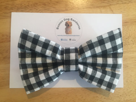 Boston Dog Bandanas™ Bow Tie - Black Gingham Print