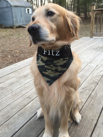Camo Military Dog Bandana - Personalized with Name