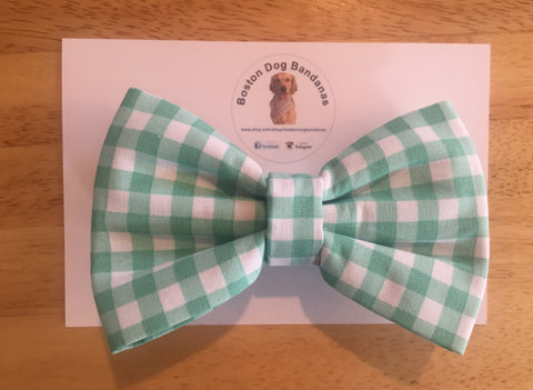 Boston Dog Bandanas™ Bow Tie - Mint Green Gingham Plaid
