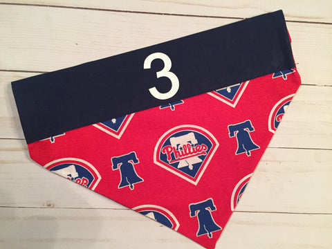 Philadelphia Phillies Personalized Number or Name Dog Bandana