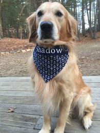 Nautical Navy Anchors Dog Bandana Personalized with Name