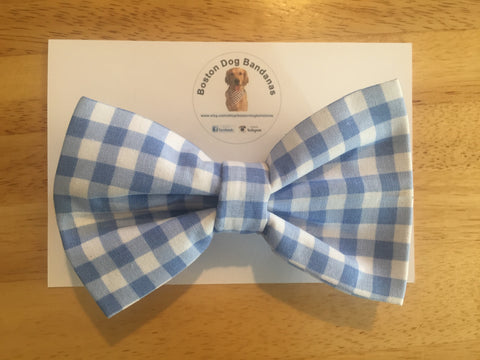 Boston Dog Bandanas™ Bow Tie - Blue Gingham Plaid Print
