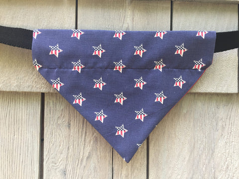 Dog Bandana - Scarf - Patriotic Stars - Slides through the Collar - Pet Scarf - Dog Gift