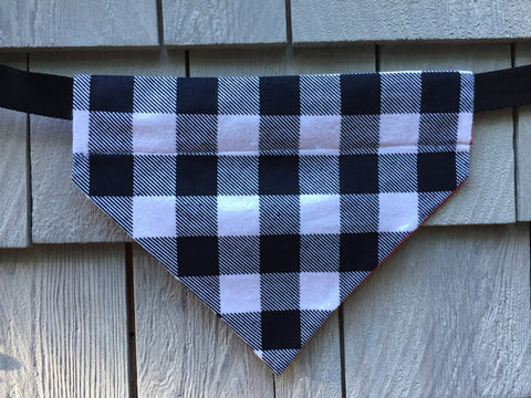 Dog Bandana - Scarf - Buffalo Plaid Flannel Black and White Print - Over the Collar