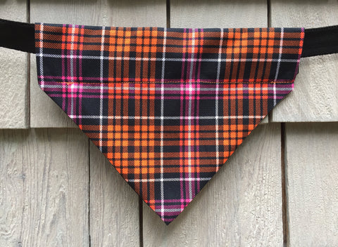 Dog Collar Bandana - Dog Clothes - Harvest Plaid - Over the Collar - Size Medium