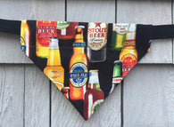 Dog Bandana - Scarf - Beer Bottles - Slides through the Collar - Pet Scarf - Dog Gift