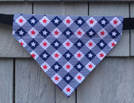 Dog Bandana - Scarf - Blue Picnic Stars - Slides through the Collar - Pet Scarf - Dog Gift