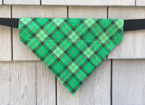 Dog Bandana - Scarf - St. Patty Plaid - Slides through the Collar - Pet Scarf - Dog Gift