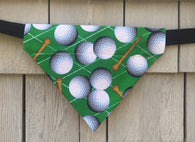 Boston Dog Bandanas ™ - Golf Balls - Slides through the Collar - Pet Scarf - Dog Gift