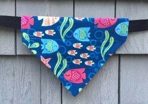 Dog Bandana - Scarf - Tropical Fish - Slides through the Collar - Pet Scarf - Dog Gift