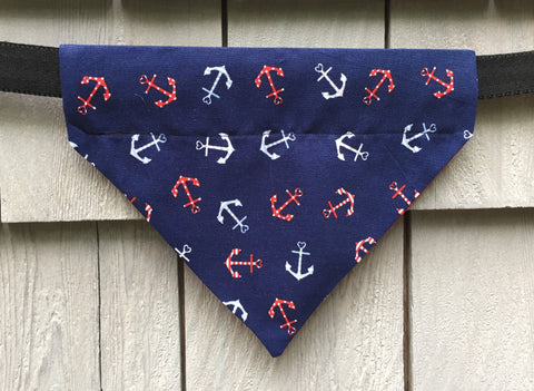 Dog Bandana - Scarf - Anchors Away - Slides through the Collar - Pet Scarf - Dog Gift