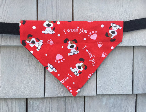 Dog Bandana - Scarf - I Woof You - Slides through the Collar - Pet Scarf - Dog Gift