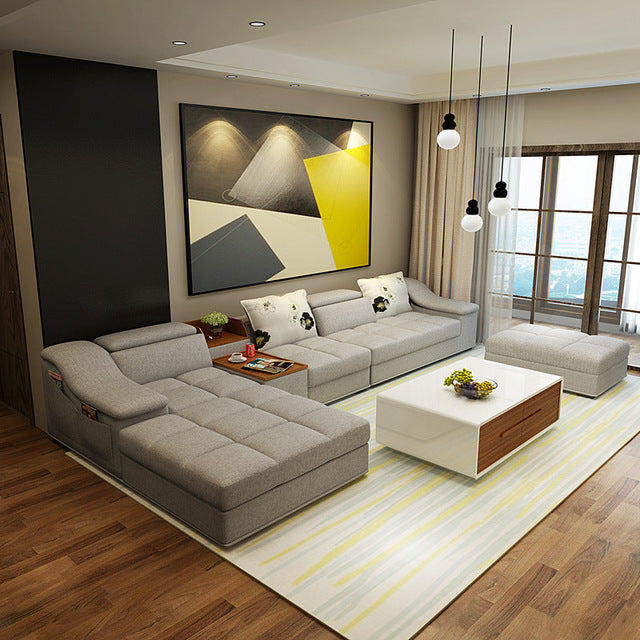 Modern Living Room L Shaped Sectional Sofa With Ottoman