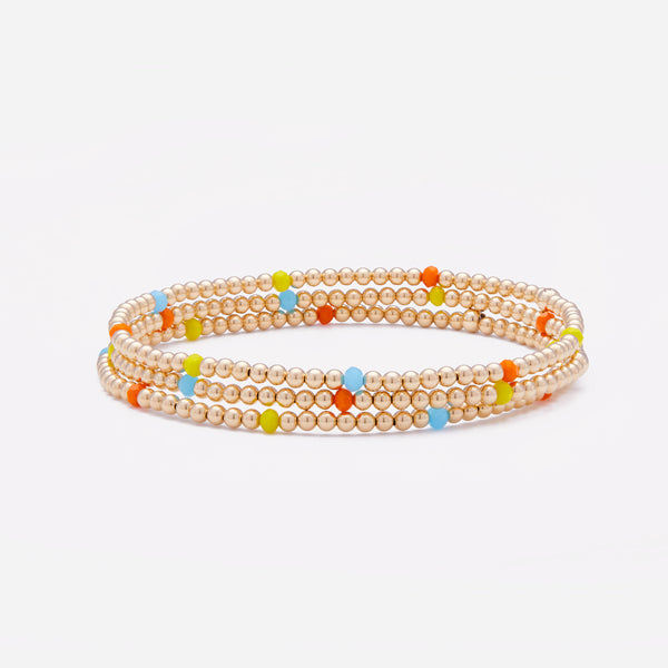 Yellow gold beaded bracelet with rainbow crystals stack for women