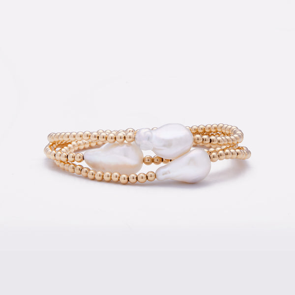 Yellow gold beaded bracelet with baroque pearl stack for women