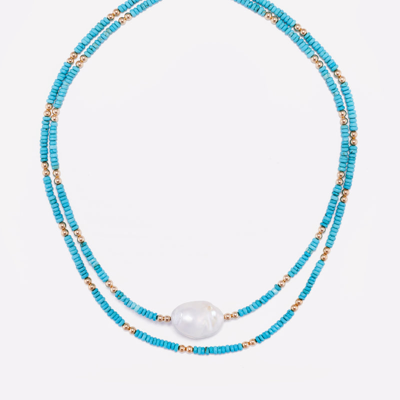 Yellow gold Turquoise Necklace with baroque pearl stack for women