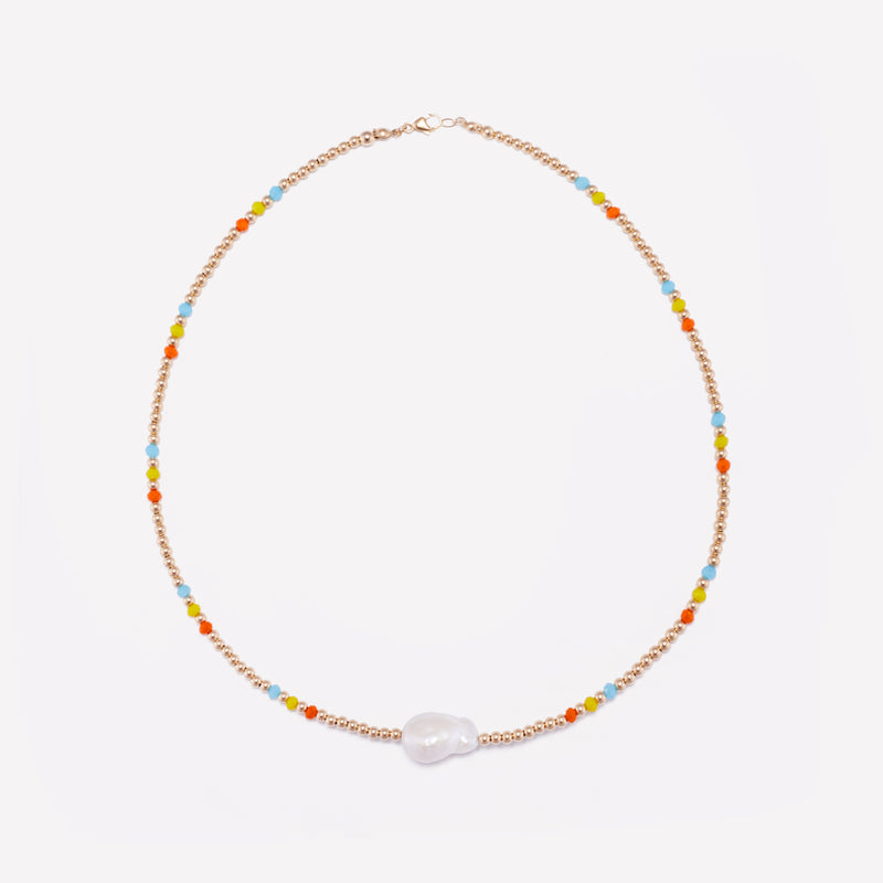 Yellow Gold beaded necklace with baroque pearl and rainbow crystals for women