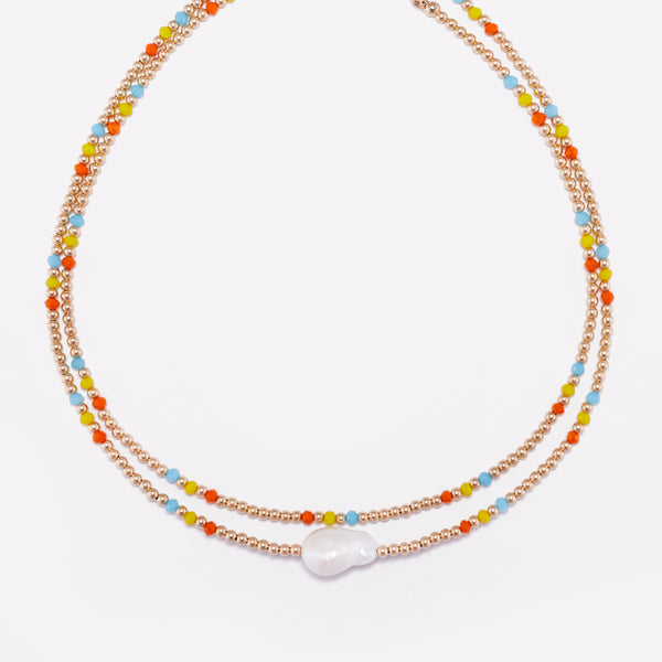 Yellow gold beaded necklace with rainbow crystals stack with baroque pearlfor women