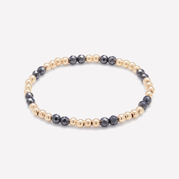 Yellow gold and Hematite beaded bracelet for women