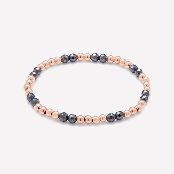 Rose Gold and Hematite beaded bracelet for women