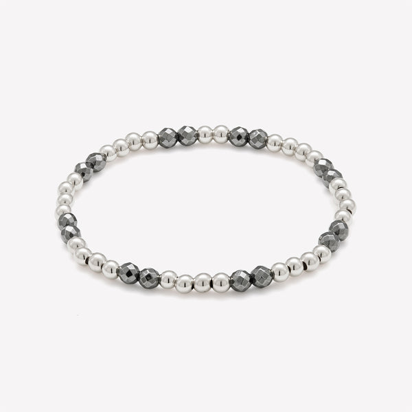 Silver and Hematite beaded bracelet for women