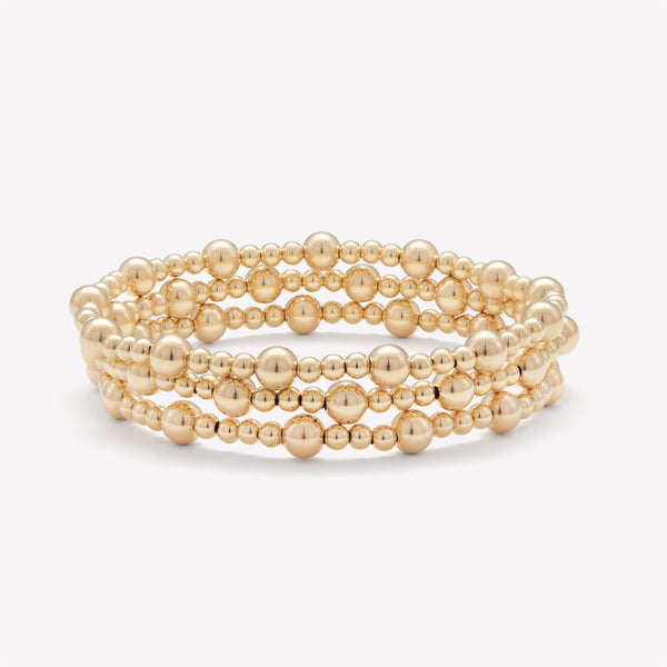Yellow Gold Beaded Bracelet Stack