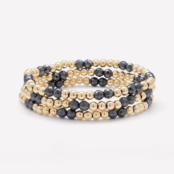 Yellow gold and Hematite beaded bracelet stack for women