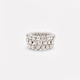Silver beaded bracelet with single silver plated Zirconia stack for women