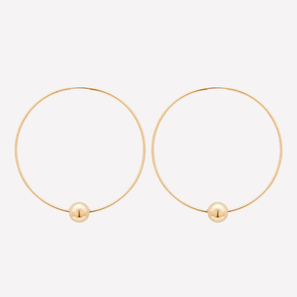Gold large hoop earrings with single gold bead for women
