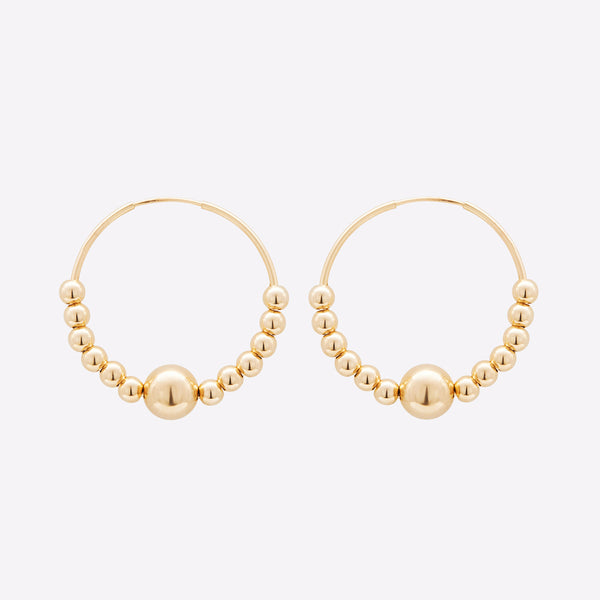 Yellow Gold filled Large Hoops with gold beads earrings for women