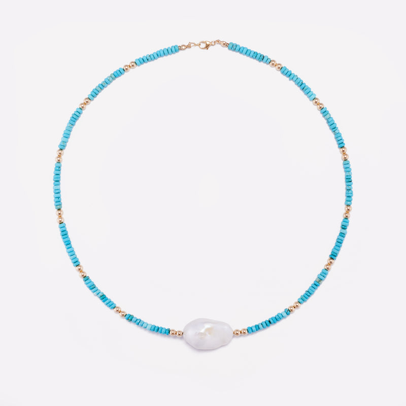 Yellow gold Turquoise Necklace with baroque pearl for women