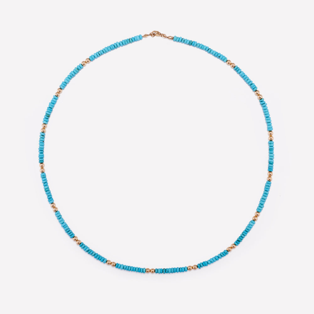 Turquoise and Yellow gold beaded necklace for women