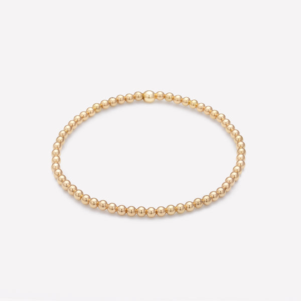 Yellow gold beaded bracelet for women