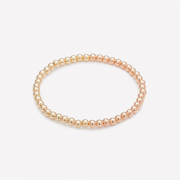 Two tone Rose gold and yellow gold beaded bracelet for women