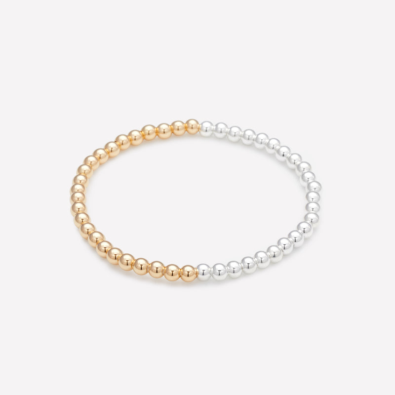 Two tone silver and yellow gold bracelet for women