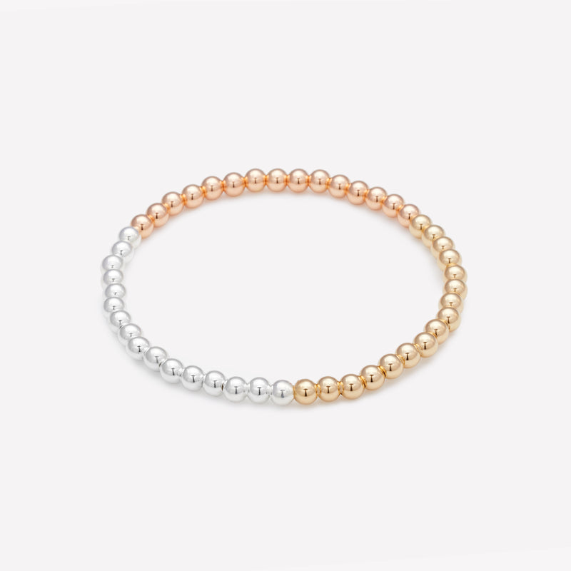 3 Tone yellow gold rose gold and silver beaded bracelet for women