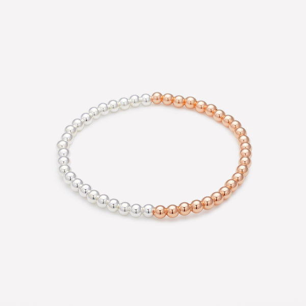 Two tone Rose gold and silver beaded bracelet for women