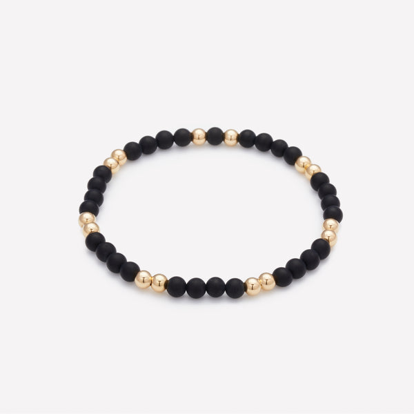 Yellow Gold and Onyx Beaded Bracelet for Women