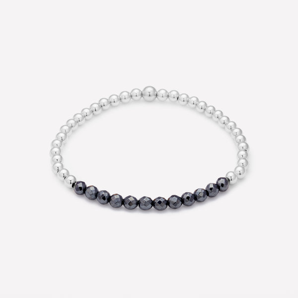 Silver beaded bracelet with hematite row for women