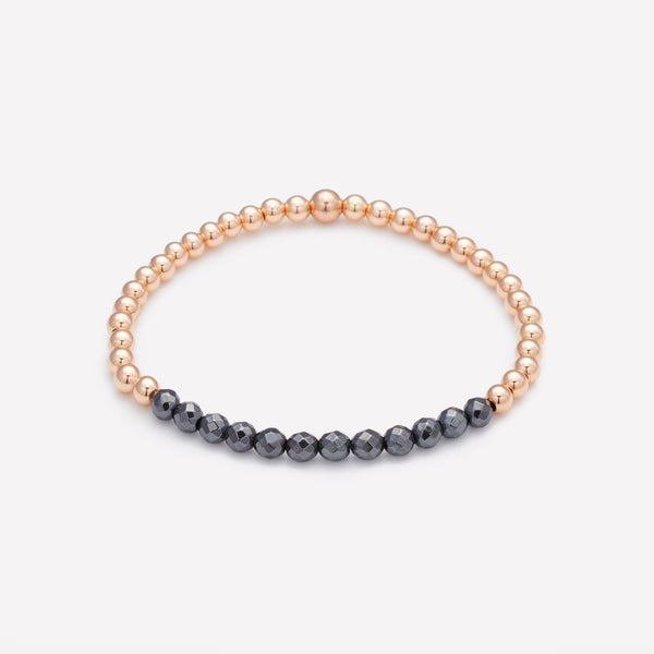 Rose gold beaded bracelet with hematite row for women