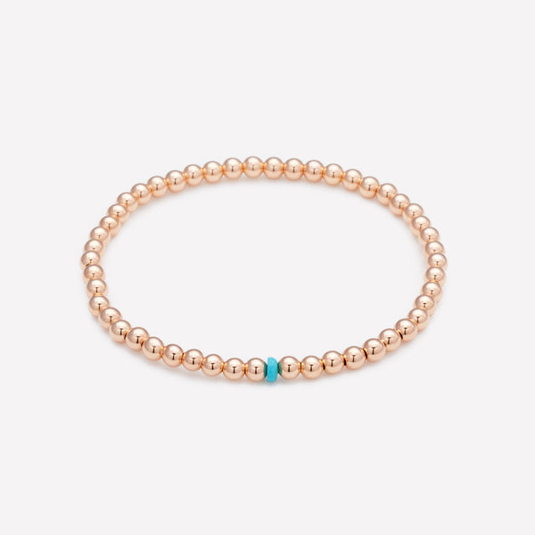 4MM 14K Rose gold beaded anklet with single turquoise crystal on clear elastic for kids
