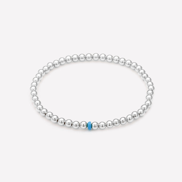 Silver beaded anklet with single turquoise crystal for kids