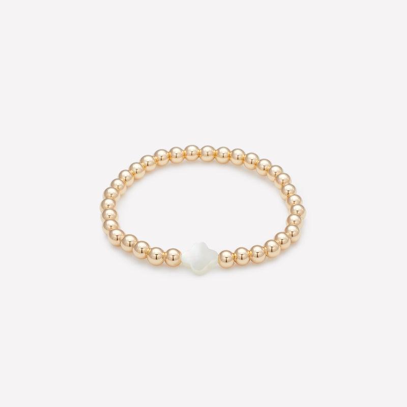 Kids Yellow Gold Beaded Bracelet with Pearl Flower