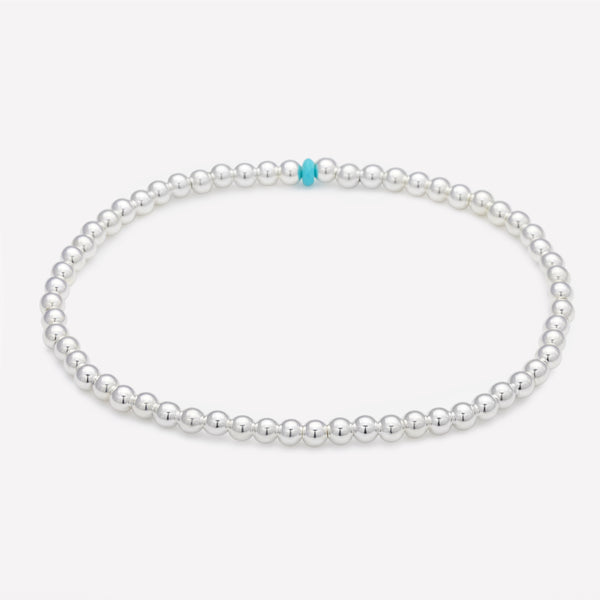 Silver beaded anklet with single turquoise nugget for women
